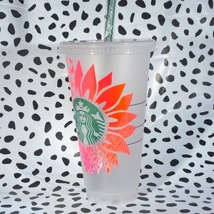 Sunflower to butterfly Starbucks cold cup 💗